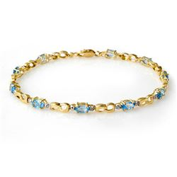 2.76 CTW Blue Topaz & Diamond Bracelet 10K Yellow Gold - REF-28M2F - 12913