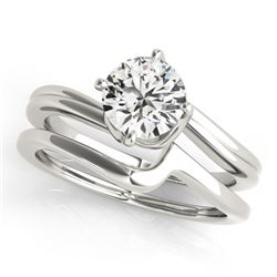 0.75 CTW Certified VS/SI Diamond Bypass Solitaire 2Pc Wedding Set 14K White Gold - REF-171M6F - 3176