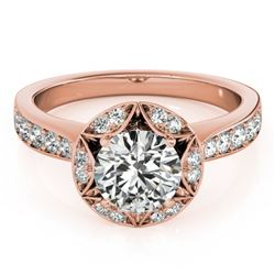 1.5 CTW Certified VS/SI Diamond Solitaire Halo Ring 18K Rose Gold - REF-404W4H - 26890