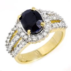 4.70 CTW Blue Sapphire & Diamond Ring 14K Yellow Gold - REF-115R5K - 13095