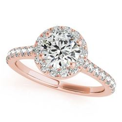 1.4 CTW Certified VS/SI Diamond Solitaire Halo Ring 18K Rose Gold - REF-377M6F - 26393