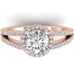 2 CTW Certified VS/SI Diamond Solitaire Micro Halo Ring 14K Rose Gold - REF-512X2T - 30379