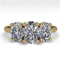 2.0 CTW Oval Cut VS/SI Diamond 3 Stone Designer Ring 18K Yellow Gold - REF-390R2K - 32470