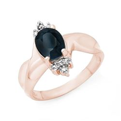 1.58 CTW Blue Sapphire & Diamond Ring 14K Rose Gold - REF-32Y2N - 13834