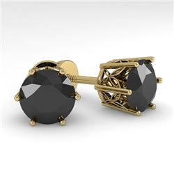 4.0 CTW Black Certified Diamond Stud Solitaire Earrings 18K Yellow Gold - REF-104M8F - 35857