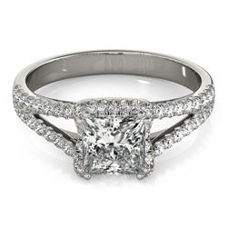 2.05 CTW Certified VS/SI Princess Diamond Solitaire Halo Ring 18K White Gold - REF-661H4W - 27108