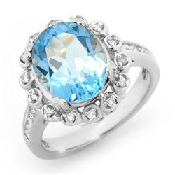 5.33 CTW Blue Topaz & Diamond Ring 10K White Gold - REF-53H6W - 13439