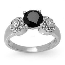 1.90 CTW Vs Certified Black & White Diamond Ring 14K White Gold - REF-81X3T - 11860