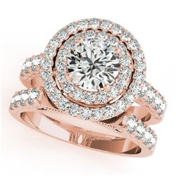 2.67 CTW Certified VS/SI Diamond 2Pc Wedding Set Solitaire Halo 14K Rose Gold - REF-458W4H - 31221