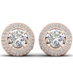 1.75 CTW Certified VS/SI Diamond Art Deco Micro Halo Stud Earrings 14K Rose Gold - REF-207K6R - 3049