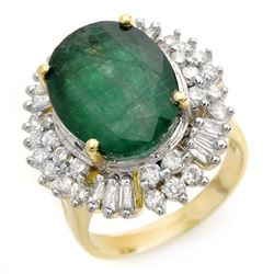 11.75 CTW Emerald & Diamond Ring 14K Yellow Gold - REF-246W4H - 14412