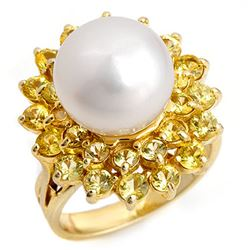 3.0 CTW Yellow Sapphire & Pearl Ring 10K Yellow Gold - REF-70F9M - 10349
