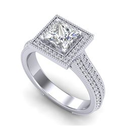 2 CTW Princess VS/SI Diamond Solitaire Micro Pave Ring 18K White Gold - REF-472R8K - 37181