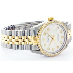 Rolex Men's Two Tone 14K Gold/SS, QuickSet, Diamond Dial & Diamond Bezel - REF-474Y5X