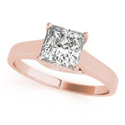 0.75 CTW Certified VS/SI Princess Diamond Ring 18K Rose Gold - REF-207F8M - 28144