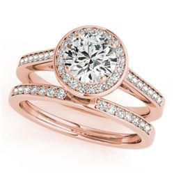 0.86 CTW Certified VS/SI Diamond 2Pc Wedding Set Solitaire Halo 14K Rose Gold - REF-135Y6N - 30805