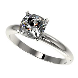 1.25 CTW Certified VS/SI Quality Cushion Cut Diamond Solitaire Ring 10K White Gold - REF-372M3F - 32