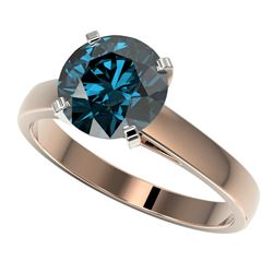 2.50 CTW Certified Intense Blue SI Diamond Solitaire Engagement Ring 10K Rose Gold - REF-608W5H - 33
