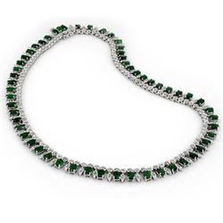 26 CTW Emerald & Diamond Necklace 14K White Gold - REF-709M3F - 11640