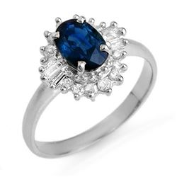 1.72 CTW Blue Sapphire & Diamond Ring 18K White Gold - REF-52F2M - 12501