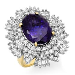 13.25 CTW Tanzanite & Diamond Ring 14K Yellow Gold - REF-578K4R - 13425