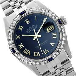 Rolex Men's Stainless Steel, QuickSet, Roman Dial with Diam/Sapphire Bezel - REF-441X8A