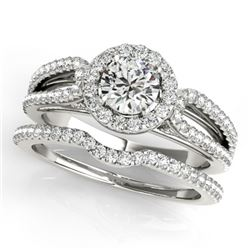 1.36 CTW Certified VS/SI Diamond 2Pc Wedding Set Solitaire Halo 14K White Gold - REF-220X2T - 30873