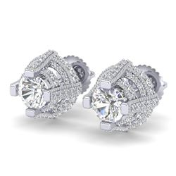 2.75 CTW VS/SI Diamond Micro Pave Stud Earrings 18K White Gold - REF-320T2X - 36950