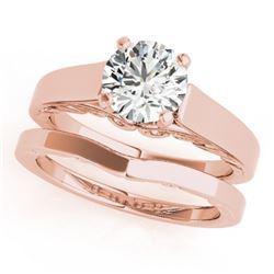 1 CTW Certified VS/SI Diamond Solitaire 2Pc Wedding Set 14K Rose Gold - REF-362Y8N - 31860
