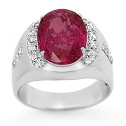 7.33 CTW Pink Sapphire & Diamond Mens Ring 10K White Gold - REF-154H5W - 13417