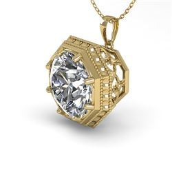 1.50 CTW VS/SI Diamond Solitaire Necklace 18K Yellow Gold - REF-525H6W - 36010