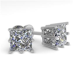 1.0 CTW VS/SI Princess Diamond Stud Solitaire Earrings 18K White Gold - REF-178W2H - 35829