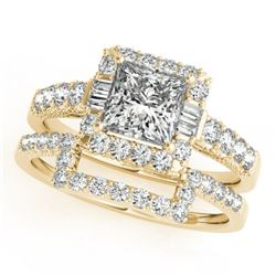 2.02 CTW Certified VS/SI Princess Diamond 2Pc Set Solitaire Halo 14K Yellow Gold - REF-463K3R - 3139
