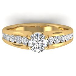 1.37 CTW Certified VS/SI Diamond Solitaire Ring 14K Yellow Gold - REF-203K3R - 30416