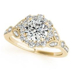 1 CTW Certified VS/SI Diamond Solitaire Halo Ring 18K Yellow Gold - REF-139T3X - 26532