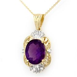 5.23 CTW Amethyst & Diamond Pendant 10K Yellow Gold - REF-36X8T - 13985