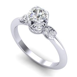 1 CTW VS/SI Diamond Solitaire Art Deco Ring 18K White Gold - REF-157R5K - 36851