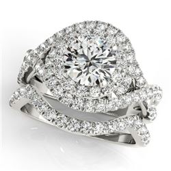 1.76 CTW Certified VS/SI Diamond 2Pc Wedding Set Solitaire Halo 14K White Gold - REF-251T3X - 31031