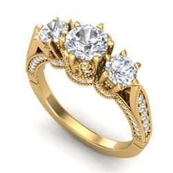 2.18 CTW VS/SI Diamond Art Deco 3 Stone Ring 18K Yellow Gold - REF-296F4M - 37249