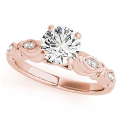 0.82 CTW Certified VS/SI Diamond Solitaire Antique Ring 18K Rose Gold - REF-184K9R - 27349