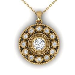 0.91 CTW Certified VS/SI Diamond Art Deco Necklace 14K Yellow Gold - REF-121H3W - 30470