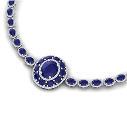 43.54 CTW Royalty Sapphire & VS Diamond Necklace 18K White Gold - REF-927H3W - 39279