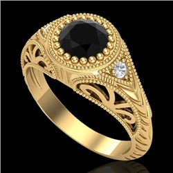 1.07 CTW Fancy Black Diamond Solitaire Engagement Art Deco Ring 18K Yellow Gold - REF-72X5T - 37473