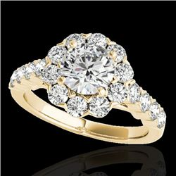 3 CTW H-SI/I Certified Diamond Solitaire Halo Ring 10K Yellow Gold - REF-410N9Y - 33555
