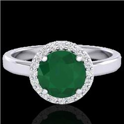 2 CTW Emerald & Halo VS/SI Diamond Micro Pave Ring Solitaire 18K White Gold - REF-58H2W - 21628