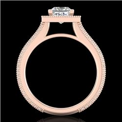 2 CTW Princess VS/SI Diamond Solitaire Micro Pave Ring 18K Rose Gold - REF-472X8T - 37182
