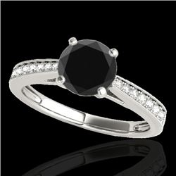 1.25 CTW Certified Vs Black Diamond Solitaire Ring 10K White Gold - REF-54W2H - 35008