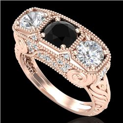 2.51 CTW Fancy Black Diamond Solitaire Art Deco 3 Stone Ring 18K Rose Gold - REF-309F3M - 37717