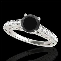 1.4 CTW Certified Vs Black Diamond Solitaire Ring 10K White Gold - REF-58M2F - 35017