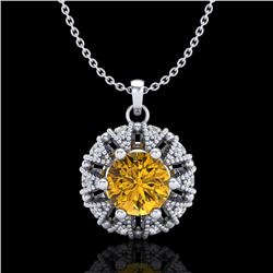 1.2 CTW Intense Fancy Yellow Diamond Art Deco Stud Necklace 18K White Gold - REF-134T5X - 37742